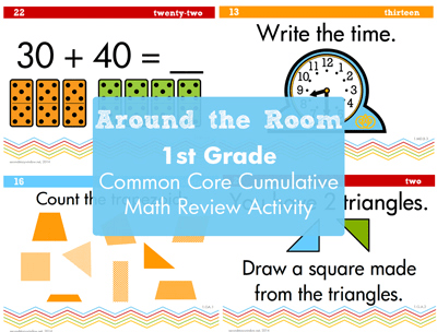 1st Grade Cumulative Around the Room Math Review - Second Story Window