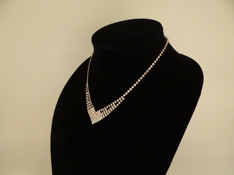 Vintage Modern Rhinestone Necklace on a Silver Tone ... |Modern Jewelry Clasp