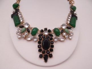 Green Black Gold Necklace - Rhinestone Necklace