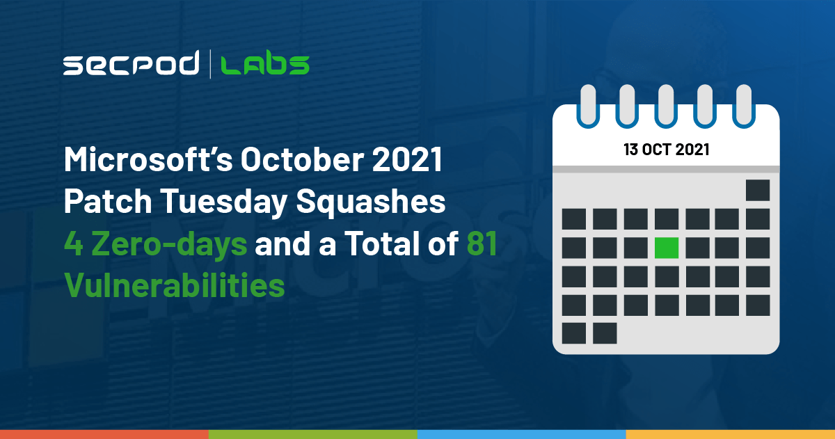 You are currently viewing Microsoft's October 2021 Patch Tuesday Squashes 4 Zero-days and a Total of 81 Vulnerabilities