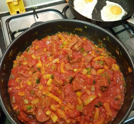 Tomatoes, Eggs and Chorizo from Lean In 15