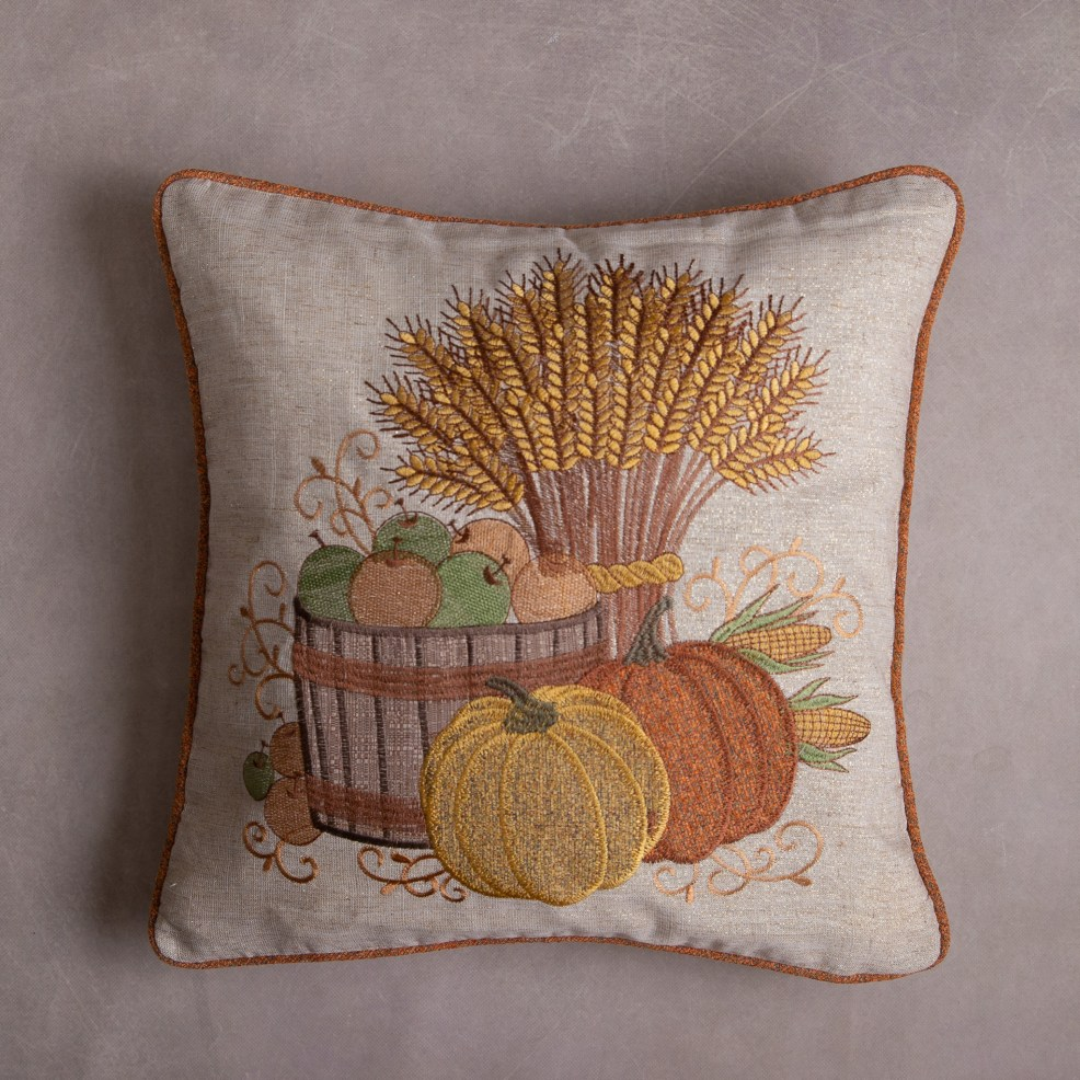 fall pillow embroidery