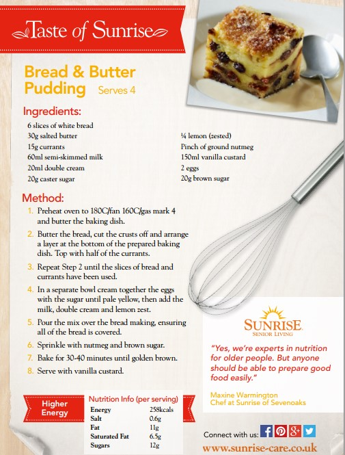 Bread and butter pudding recipe card