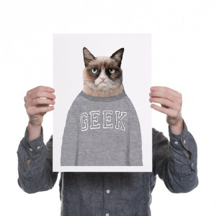 grump cat geek print