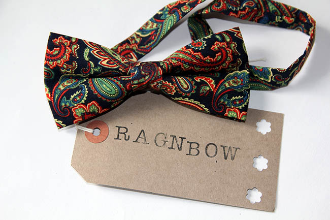 black liberty print bow tie with label