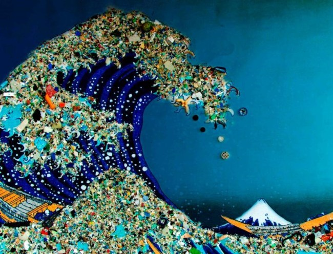 japanese wave plastic collage