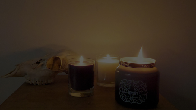 candles and skull