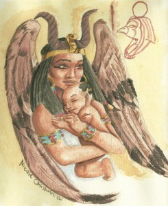 goddess_isis_and_baby_horus_by_nikkispaintings-d8n4h75
