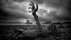 nature-black-white-zombie-hand-wallpaper