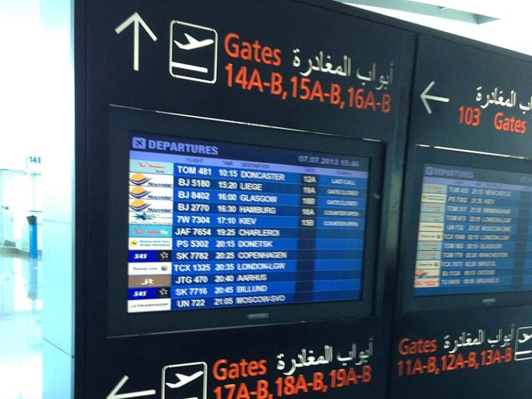 Табло аэропорта Энфида