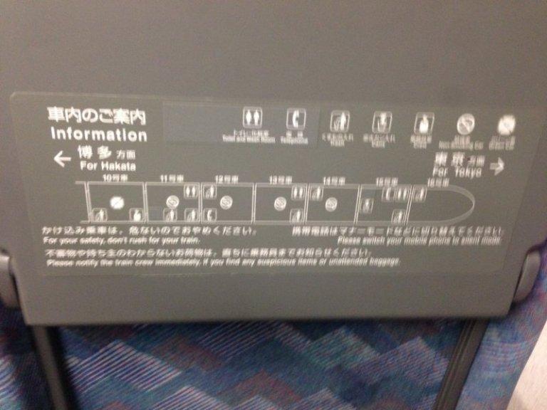 Схема вагона в синкансене