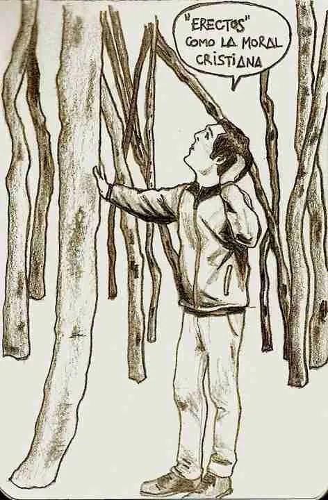 """""""Erectos"""" como la moral cristiana. Ilustración de El Guardabosques."""