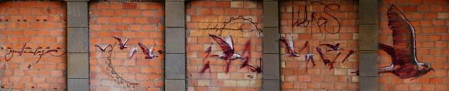 Pájaros libres, graffiti de El Niño de las Pinturas. Foto de SecretOlivo