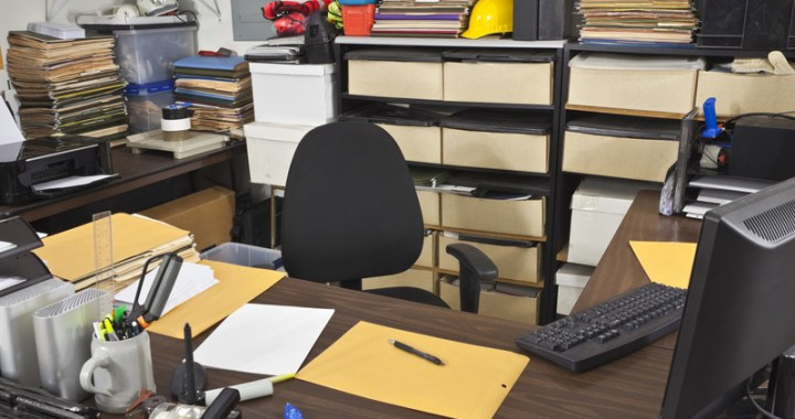 A cluttered workspace