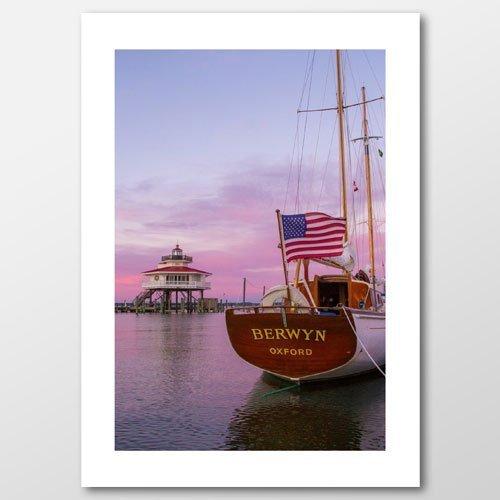 Schooner Flag Lighthouse Greeting Card