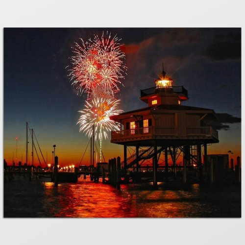 Choptank River Lighthouse Fireworks Photo Print