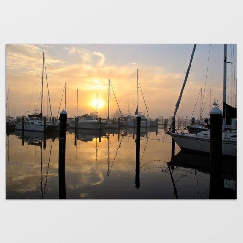 Marina in the Dawn Fog Photo Print