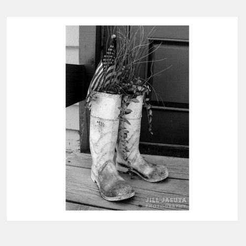 White Boots on Porch Greeting Card by Secrets of the Eastern Shore