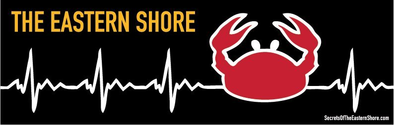Crab EKG Sticker Red on Black