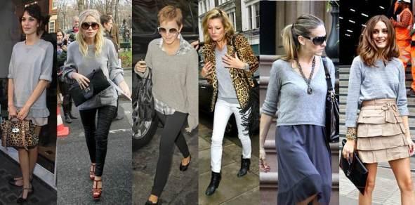Alexa Chung, Ashley Olsen, Emma Watson, Kate Moss, Sarah Jessica Parker and Olivia Palermo all love the grey knit
