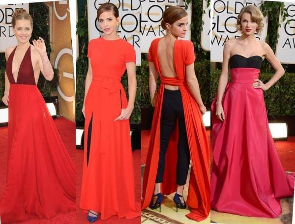The Red Dresses - Amy Adams, Emma Watson and Taylor Swift