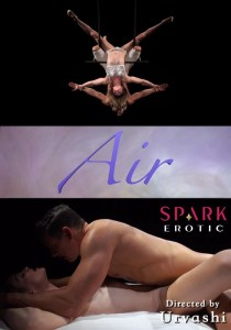 Poster. Top image is of a male and female aerialists suspended upside-down. Lower image is of them engaged in an act of coitus.