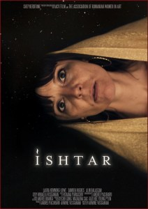 a woman with a shawl over her head with black sky and stars. Text reads ISHTAR