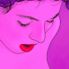 An image from the poster from the film, Vivante, of an illustrated face in pink with red lips.