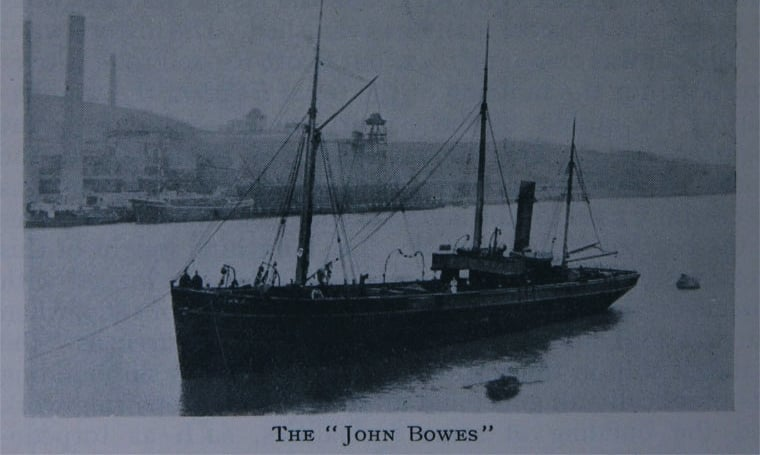 maritime-articles - SS John Bowes on Port first balast tank - First Ship with Ballast Tank John Bowes