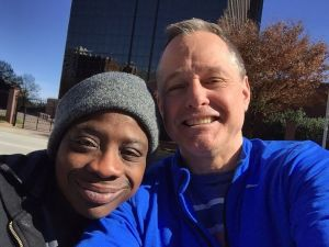 David Gillespie takes a selfie with Tawanna, a homeless woman working with to get off the street. Seven years ago, Gillespie began working with the homeless near Virginia Highland Church, where he is a member. Earlier this year, the church partnered with him to start an official outreach ministry called The River.