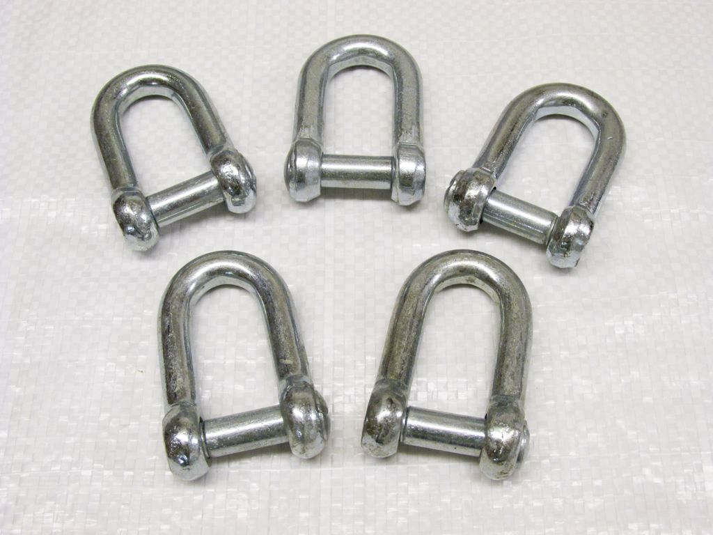 X5 10mm Galvanised Commercial Dee Shackles With Countersunk Pin