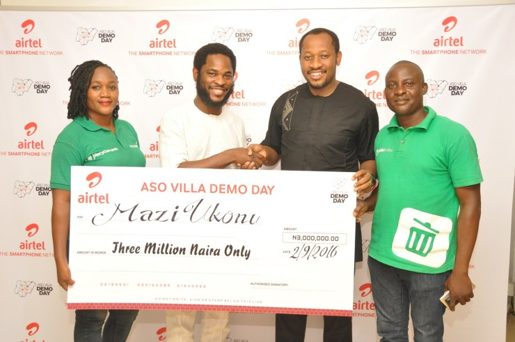 Co-founder, Recycle Point, Chioma Ukonu; Director, Brand & Advertising, Enitan Denloye; Founder of Recycle Point, Mazi Ukonu and Executive Director, Recycle Point, Taiwo Adewole during the prize presentation to the winners at Airtel Headquarters