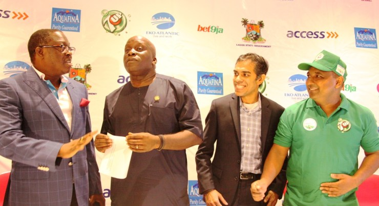 L-R: Executive Director, Access Bank/Head of Organising Committee, Mr. Victor Etuokwu; Special Adviser/Chairman, Lagos State Sports Commission, Mr. Deji Tinubu; Acting President, International Association of Ultra Runners, Mr. Nadeem Khan and  Marketing Director of 7UP, Mr. Norden Thurston during a press conference on the Lagos City Marathon at the Eko Hotels & Suites, Victoria Island, Lagos, on Friday, February 10, 2017.