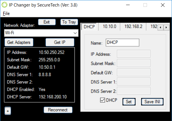 IPChanger for Windows 10 IPV4 Main Window