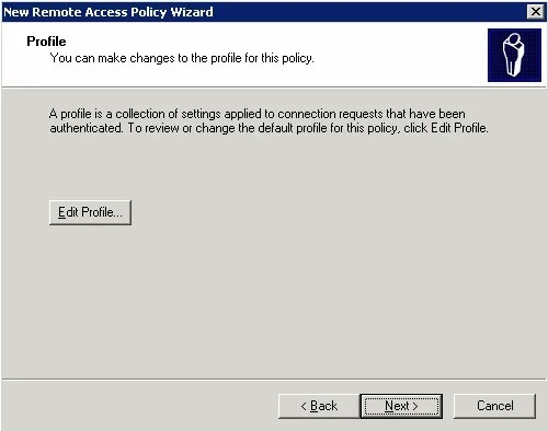 Finish creating a new Remote Access Policy
