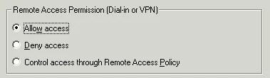 Screenshot showing user properties Remote Access Permission to allow VPN access