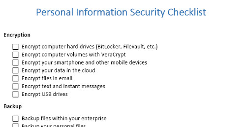 Personal Information Security Checklist - small
