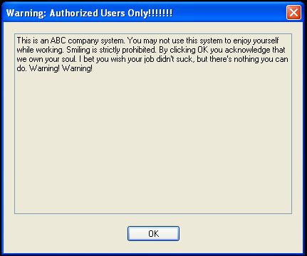 Warning Banner Sample for Systems and Network Devices