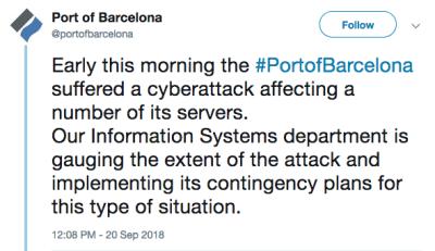 Port of Barcelona reports cyberattack