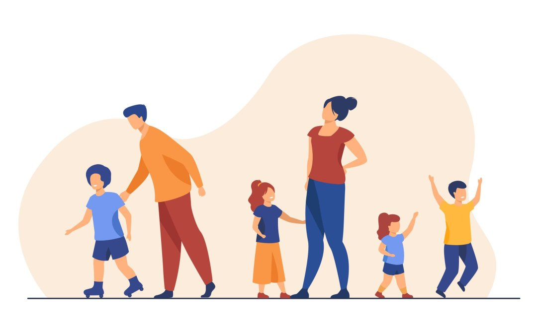 Big family walking outdoors. Tired parents and children standing together, roller skating. Vector illustration for large family, childhood, weekend, leisure concept