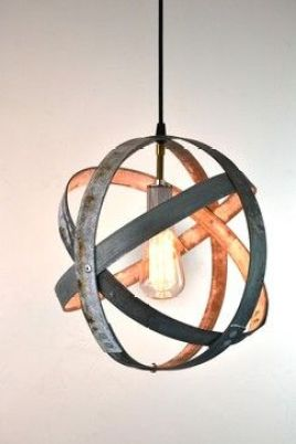 Wine Barrel Hoop Globe Light