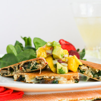Mango Avocado Chutney on Healthy Chicken Quesadillas