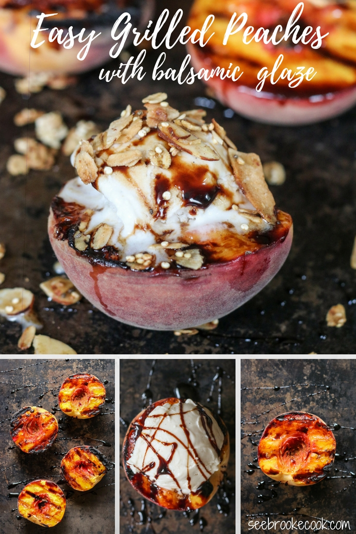 These easy grilled peaches are sure to please! Top with ice cream and granola for a delicious spin on peach crisp!