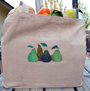 pear appliqued market bag