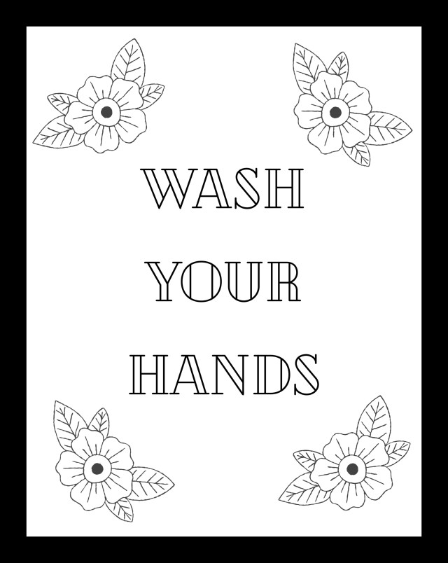 Wash Your Hands Printable Coloring Page - Seeing Dandy Blog