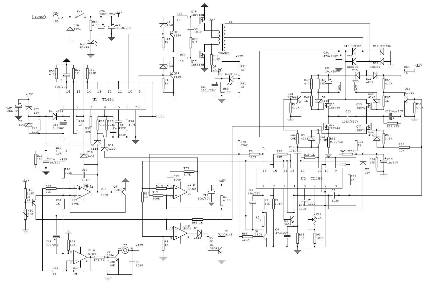 Common Inverter Principle Diagram On The Market 12vdc To 220vac 150w