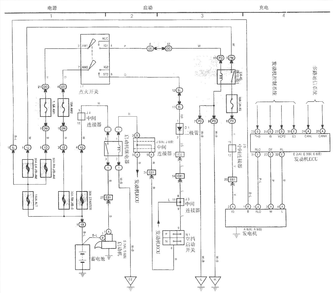 Faw Toyota Crown Electric Starting And Charging System Diagram