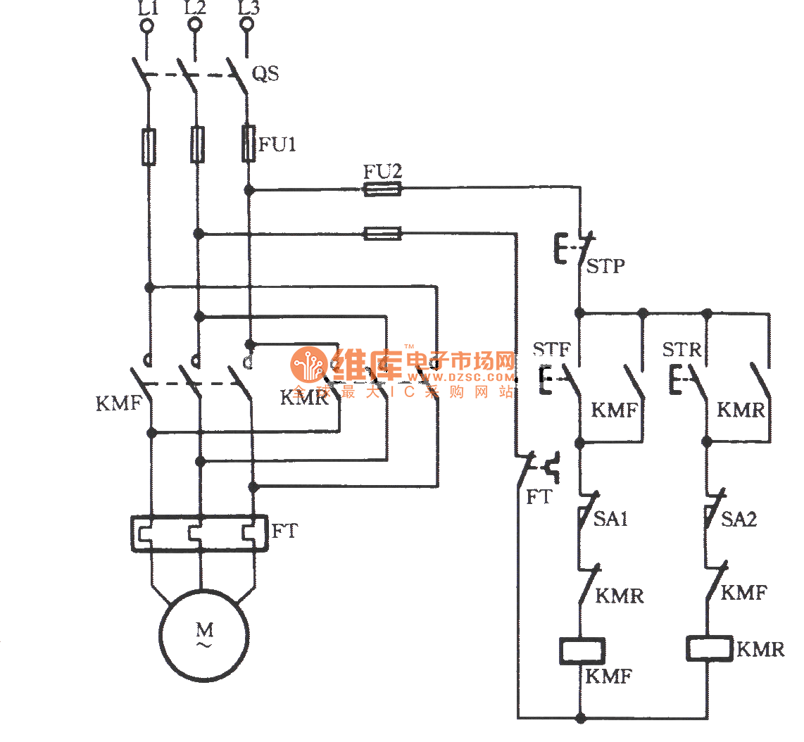 Three Phase Motor Using Limit Switch For Automatically Stopping Inverting Circuit
