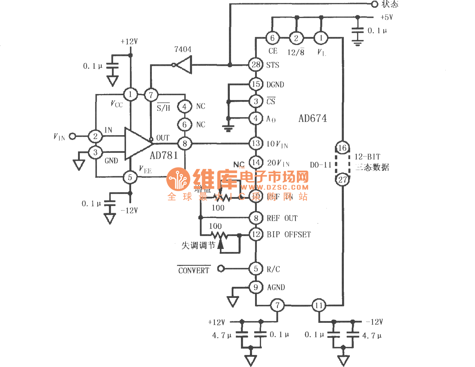 Interface Circuit Of Sample And Hold Amplifiers Ad781 And Ad674