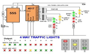 4 WAY TRAFFIC LIGHTS Circuit  LED_and_Light_Circuit